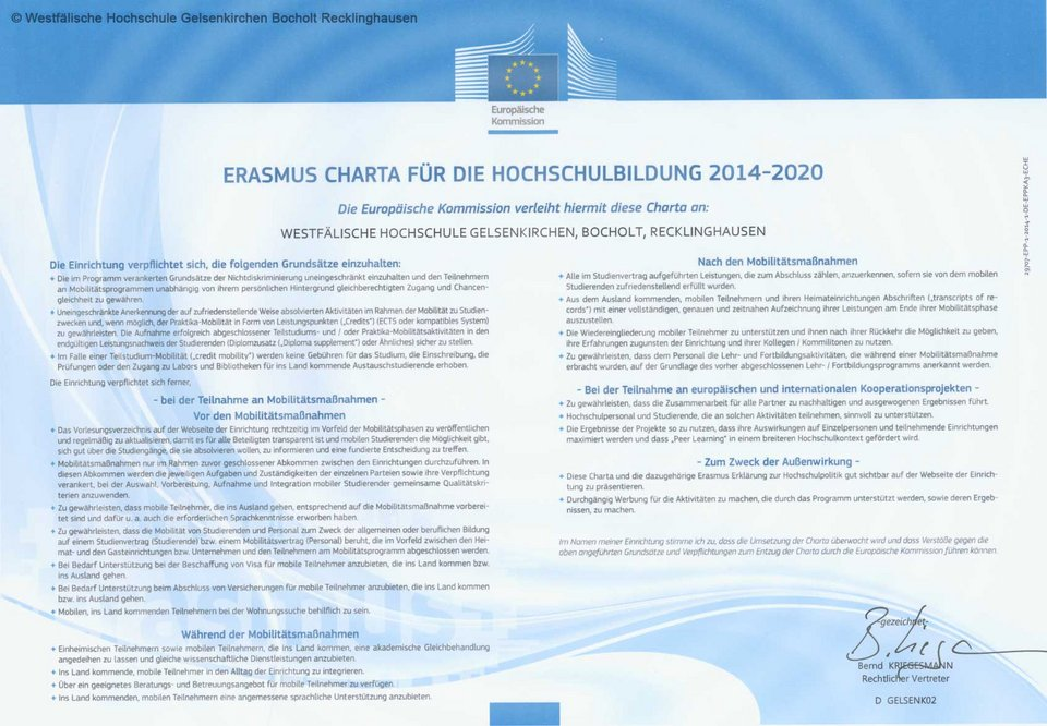 Dokument Erasmus Charta for Higher Education  für die Programmgeneration 2014-2020)
