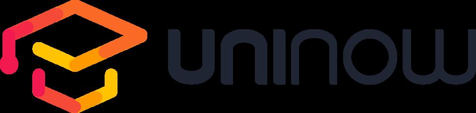 Logo der UniNow GmbH mit buntem Doktorandenhut links und Firmenschriftzug rechts