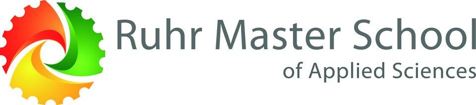 Das Logo der Ruhr Master School setzt sich als verschiedenen Teilen zusammen. Die Farben der drei teilnehmenden Fachhochschulen bilden ein Rad, das durch den Schriftzug Ruhr Master School of applied sciences ergänzt wird.