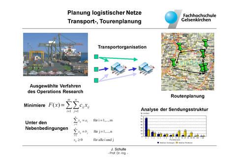 Planung logistischer Netze - Transport-, Tourenplanung