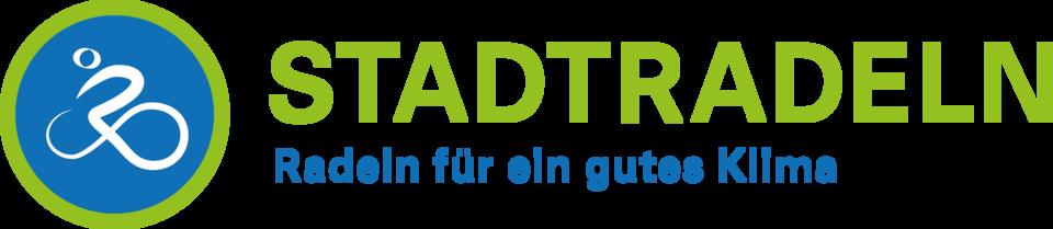 Logo des Stadtradeln. Stilisierter Radfahrer und der Schriftzug Stadtradeln - Radeln für ein gutes Klima.