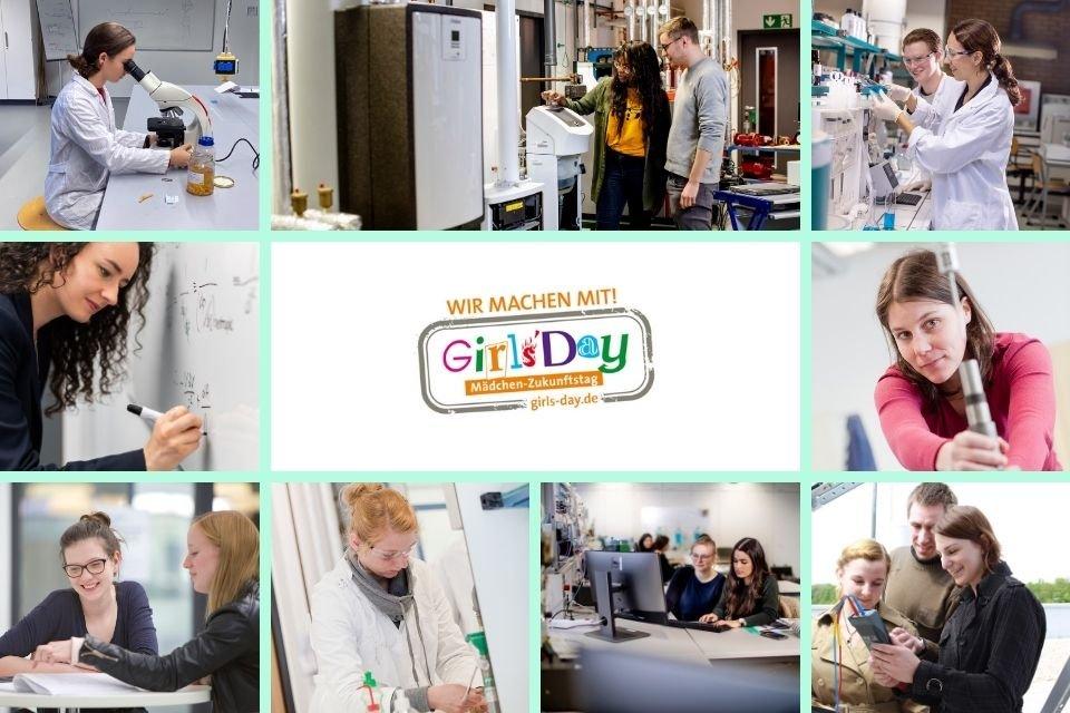 Kollage aus verschiedenen Fotos, die Frauen in naturwissenschaftlich-technischen Umgebungen zeigen. In der Mitte steht das bunte und verspielte Logo des Girls' Day
