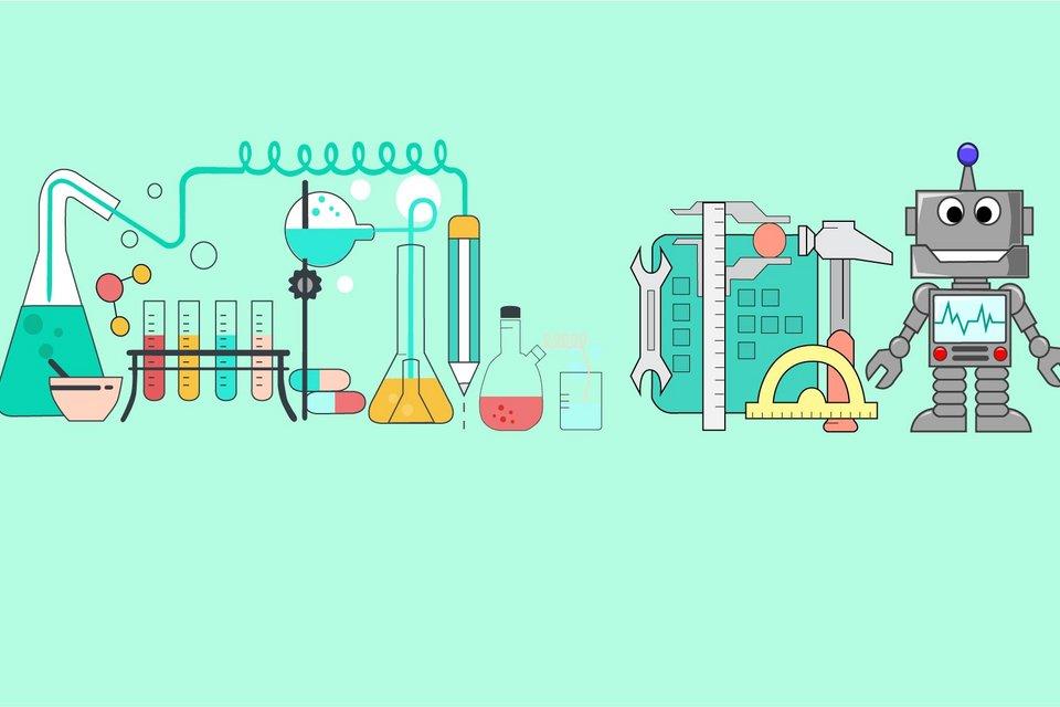 verschiedene labor- und technikbezogene Grafiken wie zum Beispiel Reagenzgläser und ein Roborter