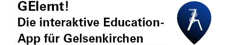 Das Logo des Softwareprojektes Gelernt, die interaktive Education-App für Gelsenkirchen. Das Logo zeigt eine Kreisform die nach unten Spitz zuläuft. In dieser Form befindet sich die Silhouette eines Förderturms.