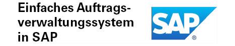 Das Logo des Softwareprojektes ein einfaches Auftragsverwaltungssystem in SAP. Das Logo zeigt das Unternehmenslogo von SAP, bei dem die drei Buschstaben des Namens in einem Viereck befindet, welches an der rechten Seite eine schräge Kante aufweist.