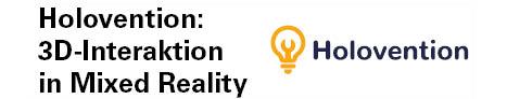 Das Logo des Softwareprojektes Holovention: 3D-Interaktion in Mixed Reality. Das Logo besteht aus einer Glühbirne und dem Schriftzug Holovention rechts daneben.