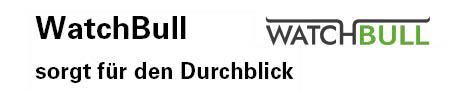Das Logo des Softwareprojektes Watch-Bull, sorgt für den Durchblick. Das Logo besteht aus dem Schriftzug Watchbull und je einer Linie links und rechts oberhalb des Schriftzuges.