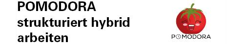 Das Logo des Softwareprojektes Pomodora, strukturiert hybrid arbeiten. Das Logo besteht aus einer Tomate mit einem lachenden Gesicht. Darunter steht der Schriftzug Pomodora.