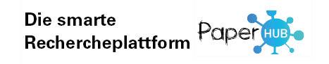 Das Logo des Softwareprojektes Paper-Hub, die smarte Rechercheplattform. Das Logo besteht aus dem Schriftzug Paper Hub, wobei das Wort Hub in einem Kreis liegt. An dem Kreis sind rundherum, wie bei einer Mindmap, Linien zu kleineren Kreisen.