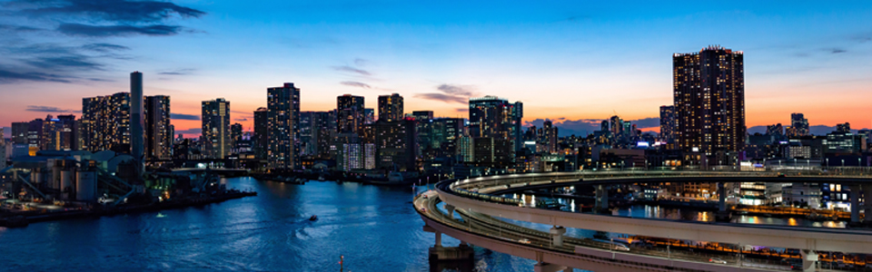 Ein Foto von der Skyline einer Großstadt bei Dämmerung.