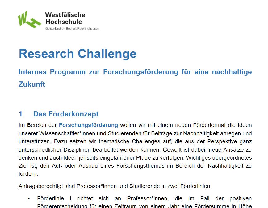 Nachhaltiger Ressourceneinsatz Research Challenge