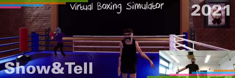 Die Darstellung des Bachelor-Projektes Virtual Boxing Simulator. Ein kleiner Bildausschnitt zeigt einen Mann, der ein mobiles Virtual Reality Headset trägt. Der Rest des Bildes zeigt ein Boxstudio mit einen Avatar, der die Bewegung des Mannes überträgt.