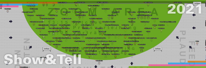 Eine Darstellung der Webanwendung wonder-me, bei der viele Teilnehmer und Teilnehmerinnen mit einem 2D-Avatar auf einer Fläche stehen. Die Fläche repräsentiert einen Zoom-Bereich, bei dem die Leute einem Zoom-Video-Meeting beitreten können.
