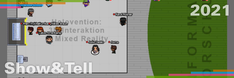 Ein Screenshot eines virtuellen Messestandes in der Webanwendung wonder-me, bei dem ein Software-Projekt präsentiert wird.